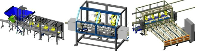 Bottle descrambling, bottle inverting & processing, and bottle assembly- A FANUC iR Vision system assists the robots to locate bottles and FANUC PickPro software configured by MCRI Engineering balances the workload across the robots.